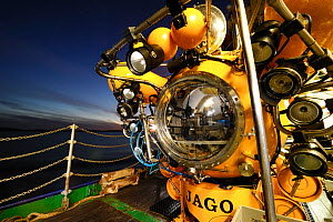 Submersible JAGO on board RV POSEIDON at the Sula Reef in Norway, this submersible can dive to 400m and hold a pilot and observer, September 2011, editorial use only. Photo taken in cooperation with G... - Solvin Zankl / GEOMAR