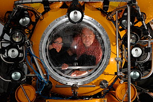 Barbara Lich editor from GEOlino and Solvin Zankl inside the submersible JAGO. Solvin Zankl is photographing cold water corals on board RV POSEIDON for three weeks, going down to 200m to visit the Sul... - Solvin Zankl / GEOMAR