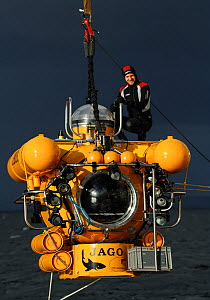 Submersible JAGO, preparing to dive, at the Sula Reef off the coast of Norway, September 2011, editorial use only. Photo taken in cooperation with GEOMAR coldwater coral research project - Solvin Zankl / GEOMAR