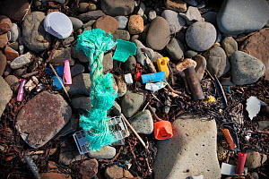Rubbish washed up on a beach. Isle of Skye, Inner Hebrides, Scotland, UK, March 2012. - Alex Hyde