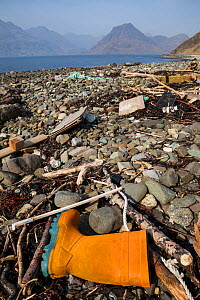 Rubbish washed up on a beach, Isle of Skye, Inner Hebrides, Scotland, UK, March 2012.  -  Alex Hyde