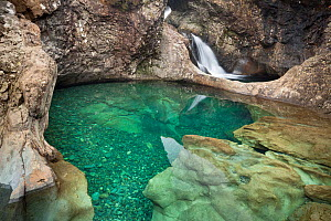 The Fairy Pools, a series of clear pools created by the Allt Coir' a' Mhadaidh river as it cascades down from the Cullin Hills. Glen Brittle, Isle of Skye, Inner Hebrides, Scotland, UK, March 2012. - Alex Hyde
