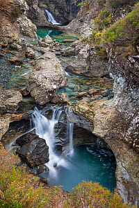 Waterfalls along the course of the Allt Coir' a' Mhadaidh river as it cascades down from the Cullin Hills. Glen Brittle, Isle of Skye, Inner Hebrides, Scotland, UK, March 2012.  -  Alex Hyde