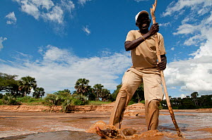 Guide from Apoka lodge tests the water level of the Kidepo River, Uganda, East Africa - Cheryl-Samantha Owen