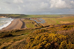 Chalk downland and river estuary. Seven Sisters Country Park, South Downs, England, November 2011.  -  Peter Cairns / 2020VISION