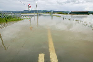 Road from Borth to Talybont flooded by River Leri, Ceredigion, Wales, UK, June 10th 2012 - David Woodfall