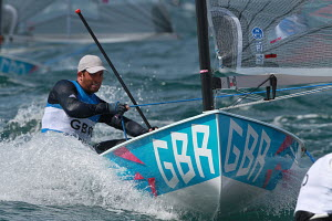 Ben Ainslie (GBR) going for a fourth gold medal in his Finn during the London 2012 Olympic Games, in Weymouth, Dorset, England, July 2012. For editorial use only. - Ingrid Abery