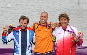RS:X medal ceremony during the London 2012 Olympic Games, in Weymouth, Dorset, England, July 2012. Nick Dempsey (GBR, silver), Dorian van Rijsselberge (NED, gold) and Przemyslaw Miarczynski (POL, bron... - Ingrid Abery