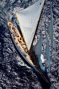 Aerial view of 'Moonbeam IV' during Copa del Rey de Barcos de Epoca as part of the Panerai Classic Yacht Challenge, Menorca, Spain, August, 2012.   All non-editorial uses must be cleared individually... - Sea & See