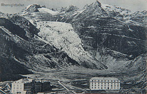 Reproduction of early 20th century postal card possibly by Chr. Brennenstuhl, showing glacier 'Rhone Glacier' in Swiss Alps and mountains with buildings in foreground. Compare with image 01403313 show... - Jean E. Roche