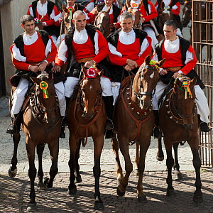 Traditionally dressed riders parading during the Madonna dei Martiri festival, in Fonni, Nuoro district, Sardinia, Italy.  -  Kristel Richard