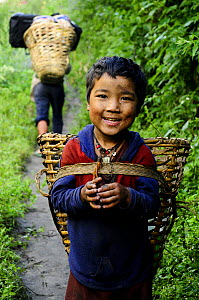 Boy with basket for carrying,  in the Budhi Gandaki river valley. Manaslu Conservation Area, Himalayas, Nepal, October 2009. No release available.  -  Enrique Lopez-Tapia
