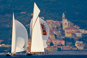 'Halloween' and 'Elena' during the Vele D'Epoca di Imperia as part of the Panerai Classic Yacht Challenge, Italy, September 2012. For editorial use only. - Sea & See