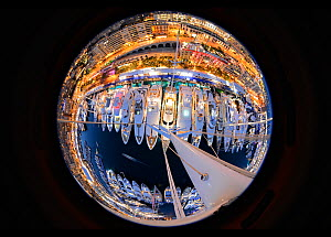 Monaco Yacht Show seen from top of 170' 'Mondango's' mast, September 2012. All non-editorial uses must be cleared individually.  -  Rick Tomlinson