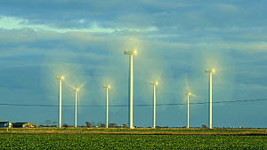 Timelapse of wind turbines rotating, with clouds moving overhead, Little Cheyne Court Wind Farm, Romney Marsh, Kent, England, UK, January 2012 - Terry  Whittaker / 2020VISION