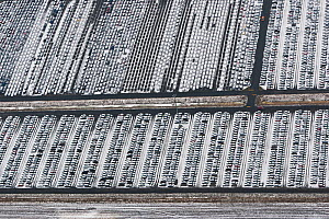 Aerial view of Emden Port in winter, new cars for shipping overseas, East Frisia, Lower Saxony, Germany, February 2012  -  Kerstin Hinze