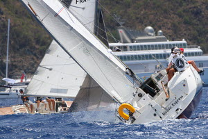 Cross tacking up the first beat past Gustavia during Les Voiles de St Barth, St Barthelemy, Caribbean, April 2012. All non-editorial uses must be cleared individually. - Ingrid Abery