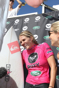 Five times world champion Steph Gilmore wins the Women's round of the Coolangatta Quiksilver Pro Tour, Queensland, Australia, February 2012. All non-editorial uses must be cleared individually. - Ingrid Abery