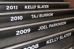 Quiksilver Pro Tour surf world champions' names printed on the steps to local bar in Coolangatta, Queensland, Australia, February 2012. All non-editorial uses must be cleared individually.  -  Ingrid Abery