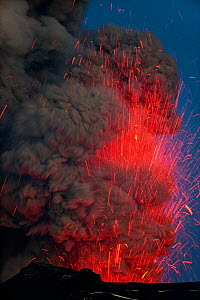 Volcanic eruption at Eyjafjallajokull with ash and lava exploding into the air at night, Iceland, May 2010 - Erlend Haarberg
