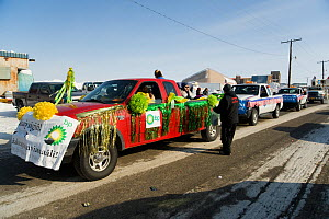 Decorated BP truck takes part in the local parade during Piuraagiaqta, Barrow's annual spring whaling festival. North Slope, Alaska, April 2012.  -  Steven Kazlowski