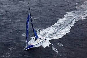 Aerial view of IMOCA 60 'Banque Populaire' skippered by Armel le Cleac'h ahead of the Vendee Globe, Lorient, France, September 2012. All non-editiorial uses must be cleared individually.  -  Benoit Stichelbaut