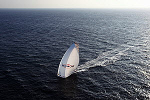 Aerial view of IMOCA 60 'Maitre Coq' skippered by Jeremie Beyou ahead of the Vendee Globe, Belle �le, France, September 2012. All non-editiorial uses must be cleared individually.  -  Benoit Stichelbaut