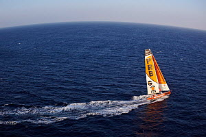 Aerial view of IMOCA 60 'PRB' skippered by Vincent Riou ahead of the Vendee Globe, Ile des Gl�nans, France, September 2012. All non-editiorial uses must be cleared individually.  -  Benoit Stichelbaut