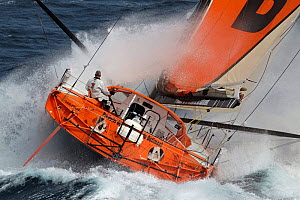 IMOCA 60 'PRB' skippered by Vincent Riou in heavy seas ahead of the Vendee Globe, Ile des Gl�nans, France, September 2012. All non-editiorial uses must be cleared individually.  -  Benoit Stichelbaut