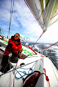 Skipper Samantha Davies on board IMOCA 60 'Saveol' ahead of the Vendee Globe, Port la Foret, France, September 2012. All non-editiorial uses must be cleared individually. - Benoit Stichelbaut