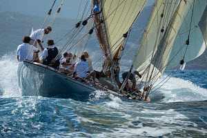 Gaff cutter 'Mariska' during the Cannes Royal Regatta as part of the Panerai Classic Yacht Challenge, Italy, September 2012. For editorial use only. - Sea & See