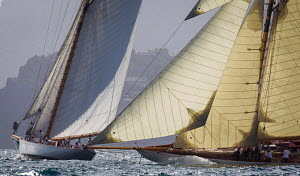 Gaff cutters 'Mariska' and 'Moonbeam IV' racing during the Cannes Royal Regatta as part of the Panerai Classic Yacht Challenge, Italy, September 2012. For editorial use only. - Sea & See