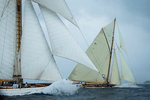 Gaff cutters 'Moonbeam IV' and 'Mariska' during the Cannes Royal Regatta as part of the Panerai Classic Yacht Challenge, Italy, September 2012. For editorial use only. - Sea & See