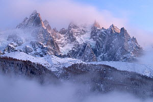 Mountains covered in snow, Chamonix, France, in winter of December 2011  -  David Pattyn