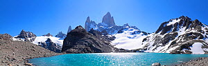 Mt Fitz Roy and Laguna Los Tres, panoramic view, Fitzroy National Park, Argentina  -  Mark Taylor