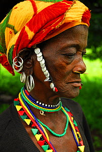 Bedik woman with traditional necklaces and beads.  Bassari country, east Senegal. This area became a UNESCO World Heritage site in 2012, for cultural landscape and traditions kept by the the Bassari,...  -  Enrique Lopez-Tapia