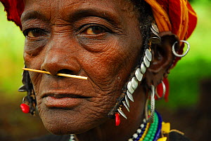 Bedik woman with traditional necklaces and beads. Bassari country, east Senegal. This area became a UNESCO World Heritage site in 2012, for cultural landscape and traditions kept by the the Bassari, F...  -  Enrique Lopez-Tapia