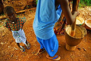 Hand grinding grain in a mortar with small child,  Bassari country, east Senegal. This area became a UNESCO World Heritage site in 2012, for cultural landscape and traditions kept by the the Bassari,... - Enrique Lopez-Tapia