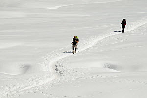People crossing the Cho La Pass (5420 m) hiking through the snow and ice at high altitude, Sagarmatha National Park (World Heritage UNESCO). Khumbu / Everest Region, Nepal, Himalaya, October 2011.  -  Enrique Lopez-Tapia