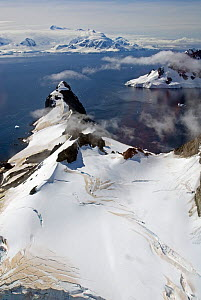 Aerial view of coast of Antarctic Peninsula. February 2008. Taken on location for BBC tv series 'Life' - Martha Holmes