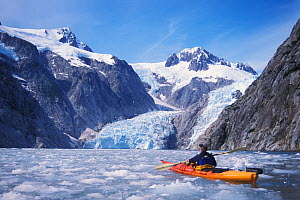 Kayaker in front of Bear Glacier, Kenai Fjords National Park, Alaska, USA. No release available.  -  Steven Kazlowski