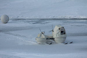 'Blizzard cam' and 'Snowball cam' remote cameras designed for filming polar bears, Svalbard, Norway, taken on location for 'Polar Bear : Spy on the Ice' August 2010  -  John Downer