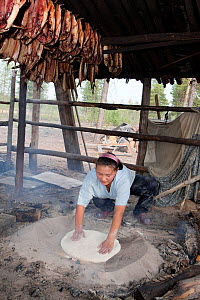 Lena Kuboleva, a young Selkup woman, making traditional Selkup bread by baking dough in hot sand at her family's summer camp in the forest, Krasnoselkup, Yamal, Western Siberia, Russia. - Bryan and Cherry Alexander