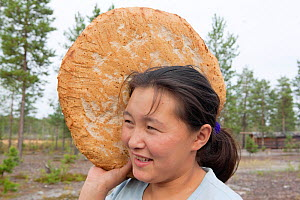 Lena Kuboleva, a young Selkup woman, holding a loaf of traditional Selkup bread she has baked in hot sand, at her family's summer camp in the forest, Krasnoselkup, Yamal, Western Siberia, Russia. - Bryan and Cherry Alexander