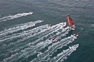 Aerial view of IMOCA 60 'Safran' skippered by Marc Guillemot starting the Vendee Globe from Les Sables d'Olonne, France, November 2012. All non-editorial uses must be cleared individually.  -  Benoit Stichelbaut