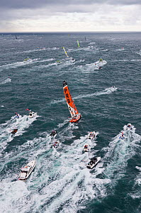 Aerial view of IMOCA 60 'PRB' skippered by Vincent Riou starting the Vendee Globe from Les Sables d'Olonne, France, November 2012. All non-editorial uses must be cleared individually.  -  Benoit Stichelbaut