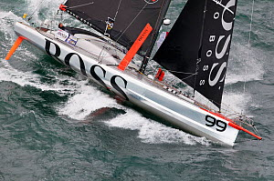 Aerial view of IMOCA 60 'Hugo Boss' skippered by Alex Thomson starting the Vendee Globe from Les Sables d'Olonne, France, November 2012. All non-editorial uses must be cleared individually.  -  Benoit Stichelbaut