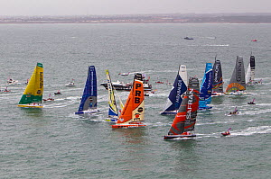 Aerial view of IMOCA 60 fleet starting the Vendee Globe from Les Sables d'Olonne, France, November 2012. All non-editorial uses must be cleared individually.  -  Benoit Stichelbaut