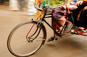 Close-up of the front wheel of a bicycle taxi, Dhaka, Bangladesh, June 2012. - Enrique Lopez-Tapia
