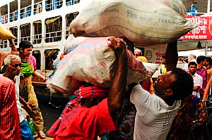 Stevedores or dock workers carrying cargo to and from the boats, Sadarghat water front, Dhaka, Bangladesh June 2012. - Enrique Lopez-Tapia